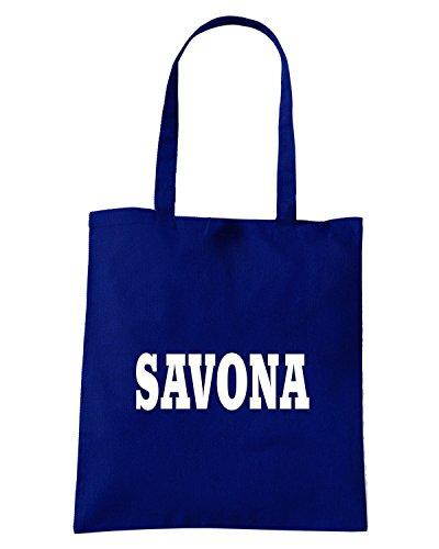 T-Shirtshock - Borsa Shopping WC0871 SAVONA ITALIA CITTA STEMMA LOGO Blu Navy