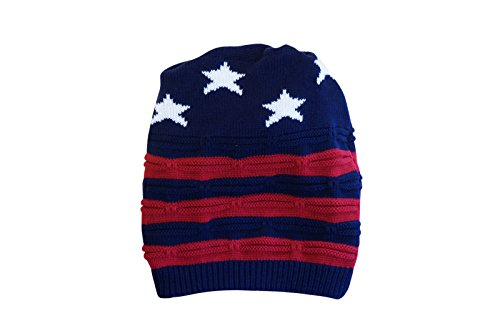 Unisex Convertible Slouch Beanie Cowl Infinity Scarf Americana Messy Bun Hat, Damen, Red & Navy, Large -