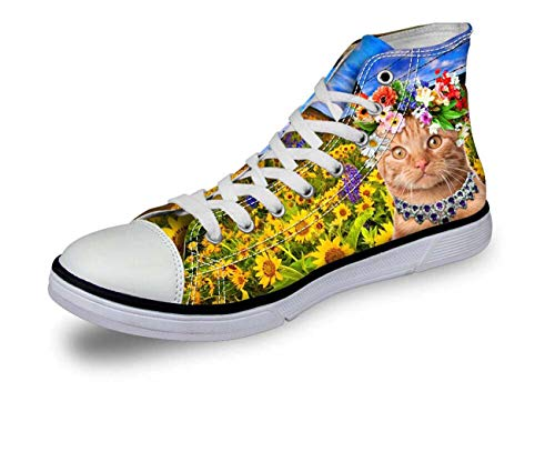 Floral Cute Cat High Top Lace Up Trainers Canvas Shoes Soft Light Size UK2-8 with Yellow CA4705AK UK 8\u002FEU41 Dolce & Gabbana Print-heels