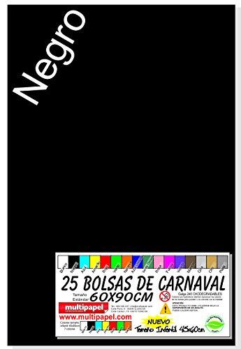 BOLSA PLASTICO CARNAVAL PAQUETE 25 BOLSAS 60X90CM (NEGRO)