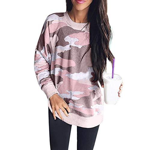 Luckycat Las Mujeres Moda Camuflaje Top Casual Camiseta