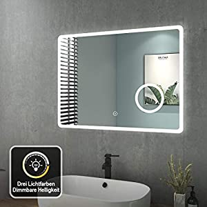 Badezimmerspiegel mit Beleuchtung 80x60 cm LED Badspiegel 3 Lichtfarbe Warmweiß/Neutral/Kaltweiß Dimmbar 3000-6500K Lichtspiegel Wandspiegel mit Touchschalter + Beschlagfrei + 3-Fach Vergrößerung