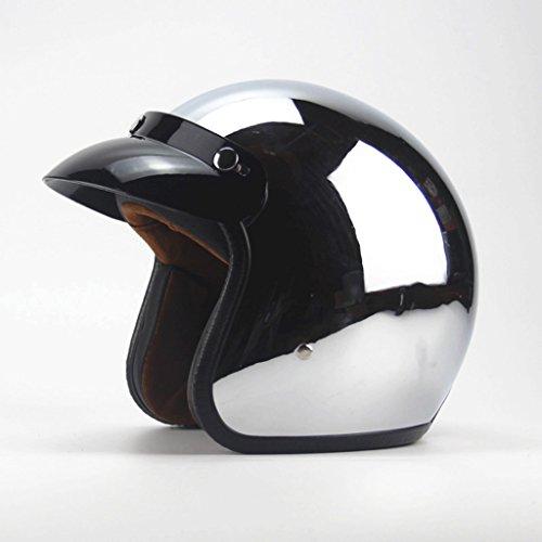 DGF Casque Quatre saisons Rétro Hommes et Femmes Moto Miroir Réfléchissant Placage Argent Cool Casque de Moto Casque (taille : M)