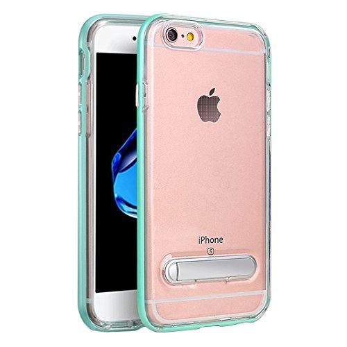 Phone case & Hülle Für iPhone 6 u. 6s TPU + PC transparente Kombination Rückseitige Abdeckungs-Fall mit magnetischem Halter ( Color : Rose gold ) Green