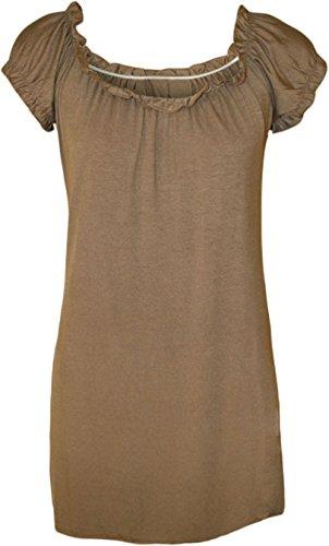 Fashion Damen Übergröße 4 weniger neue Zigeuner Boho 14-28 Damen kurze Arme Braun - Mokkafarben