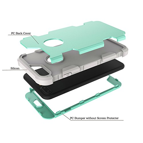 Custodia per Apple iPhone 7 in Plastica Dura Rigida, Girlyard 3 in 1 Hard PC Ultra Slim Protettiva Posteriore Copertura Bumper Antiurto Antigraffio Case Cover per iPhone 7 4.7 Disegni Oro Nero Grigio Verde
