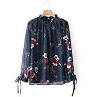 Cnsdy Camisas para Mujeres Collares con Cordones Camisas Estampadas Camisas para Mujeres con Mangas largas