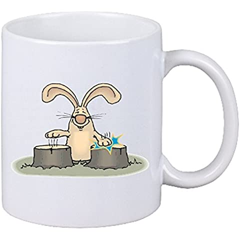 Taza tambores cafetería párrafo Conejo de dibujos animados Fun Fun Fun Fun película de culto película de culto Top Cartoon Top cerámica Altura 9.5 cm de diámetro de 8 cm de Blanco