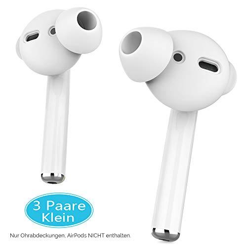 AhaStyle - 3 paia di copriauricolari in silicone antiscivolo per Apple AirPods e EarPods