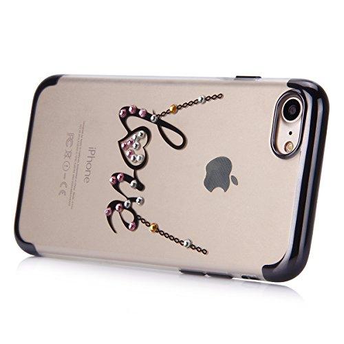 Custodia iPhone 7, iPhone 7 Cover Silicone, SainCat Cover per iPhone 7 Custodia Silicone Morbido, Custodia Bling Glitter Strass Diamante Silicone 3D Design Ultra Slim Silicone Case Ultra Sottile Morbi Lettere AMORE #3