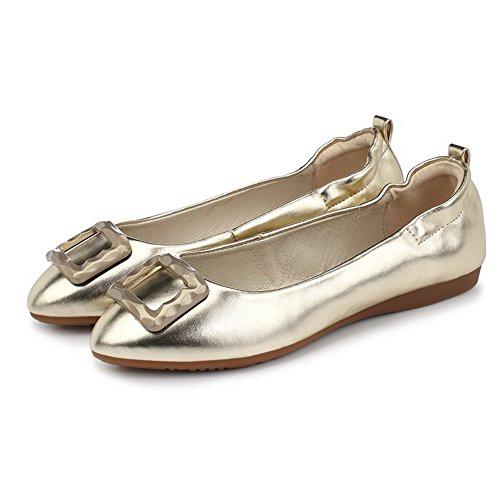 AgooLar Femme Couleur Unie Pu Cuir Non Talon Rond Tire Chaussures à Plat Doré