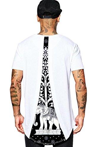 Camisetas de Elefante Negro y Blanco para Hombres Hip Hop de línea Larga Dobladillo Camiseta