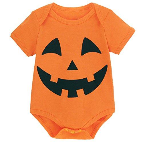 Mombebe Baby Halloween Kürbis Kostüm Bodys (0-3 Monate, Kürbis) (Lustige Baby Halloween Kostüme)