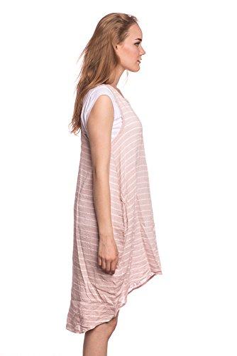 Abbino 8678 Vestiti Righe Con Camicia Donna - Made in Italy - 3 Colori - Mezza Stagione Primavera Estate Autunno Signore Vestiti Donne Classico Libero Casual Eleganti Saldi Sexy Signora Moda Rosa