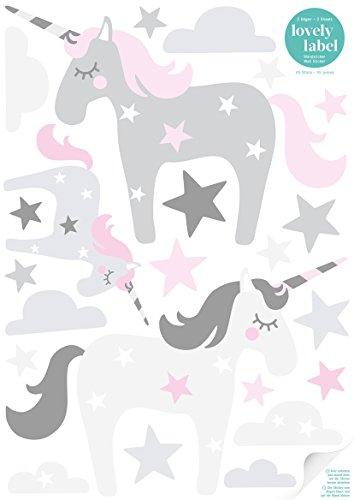 lovely label Wandsticker selbstklebend EINHORN ROSA/GRAU - Wandaufkleber Kinderzimmer / Babyzimmer mit Einhörnern in versch. Farben - Wandtattoo...