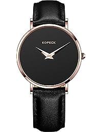 Kopeck de la mujer relojes scale-free negro Dial Rose Dorado Acero inoxidable Movimiento de cuarzo