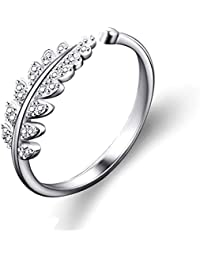 Karatcart Silver Platinum Plated Elegant Austrian Crystal Adjustable Leaf Ring For Women's