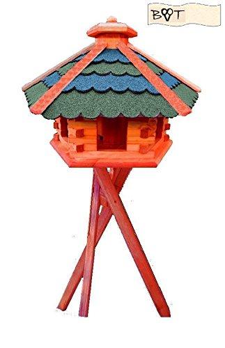 Bird Feeder Xxxl Vöglehus Wooden Bird House Bird Feeder With A Green And Grey Blue B60g Bgms With Stand
