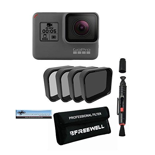 Preisvergleich Produktbild Premium 4x ND 4K Filter ND4, ND8, ND16, ND32 für GoPro Hero 5 Black Karma Drohne + Linsenreiniger + Transporttasche