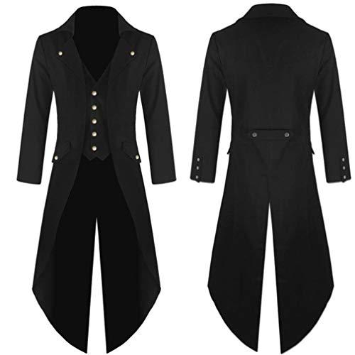 (Beginfu Herren Mantel Frack Jacke Gothic Gehrock Uniform Kostüm Party Oberbekleidung Steampunk Vintage Viktorianischen Langer Mantel Kostüm Cosplay Kostüm Smoking Jacke Uniform)
