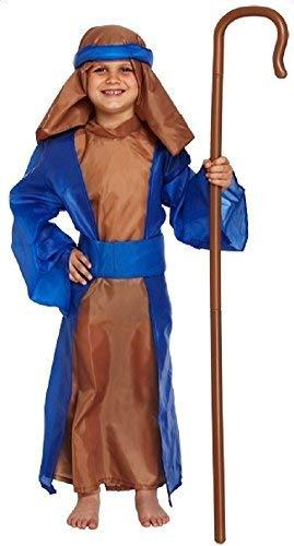 Schäfer Kostüm Jungen Kinder - Fancy Me Kinder Jungen Mädchen 5 Stück Blau Shäfer Weihnachten Krippe Verkleidung Kostüm Outfit 4-12 Jahre - Blau, 7-9 Years