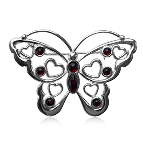Kirschrot Bernstein Sterling Silber Brosche Schmetterling