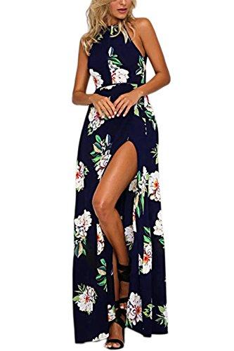 YOINS Robe Longue Femme Été Chic Robes Imprimé Florale Sexy Dress Robe De Plage Asymétrique Robe Tunique Maxi Bohême A-Bleu Foncé EU 40-42