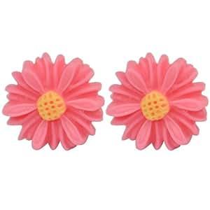Beyondfashion Mini Resin Cute Daisy Flower Earring Ear Stud for Women Girls (Rose Pink)