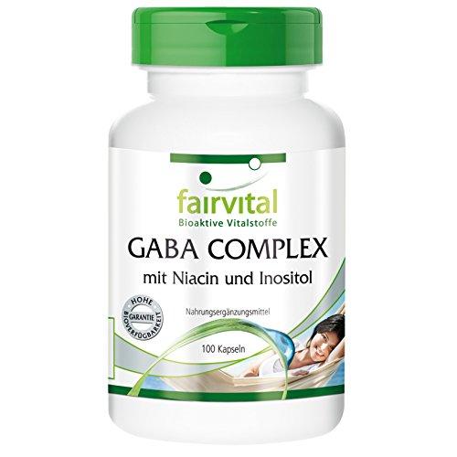 fairvital - GABA COMPLEX - 100 cápsulas de GABA con niacina e inositol