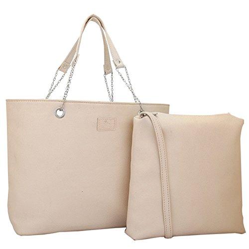Lapis O Lupo Elfenbein-Off Frauen Tote Bag Off White Designer Satchel Taschen mit Multi Pocket (Leder-tote Off-white)