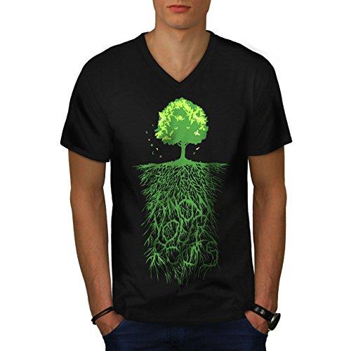 Erde Baum Wurzeln Natur Herren M V-Ausschnitt T-shirt | Wellcoda (Elch Berg Mooses)