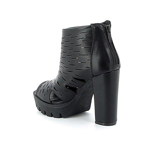Sandale open-toe à plate-forme Noir