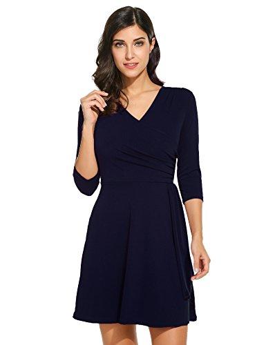 Parabler Damen Elegant Wickelkleid A-Linie Abendkleid Cocktailkleid Partykleid Vintage mit 3/4 Arm Knielang Marineblau