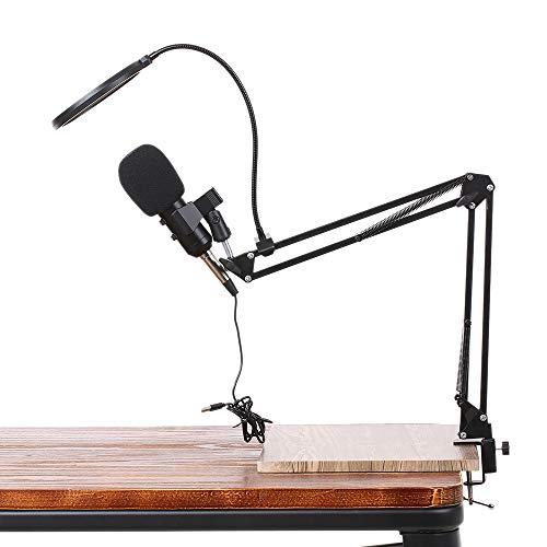 Docooler Kondensator-Mikrofon Kit, USB Studio Rundfunk & Aufnahme Microphone, Aufnahme Mikrofon Federung Arm Ständer mit Shock Mount und Montage Klemme Kit für Home Studio