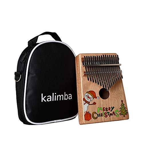 17 Tasten Kalimba, Weihnachten Schneemann Schneeklavier, mit Tragetasche, Hammer, Lernanweisung, für erwachsene Kinder Anfänger, perfektes Geschenk für Musikliebhaber