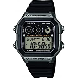 Casio Men's Quartz Watch with Silver Dial Analogue - Digital Display and Black Resin Strap AE1300WH-8AVEF