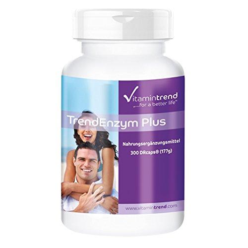 TrendEnzym Plus - Großpackung mit 300 Kapseln - ! FÜR 3 MONATE ! - Enzym-Komplex mit Bromelain, Trypsin, Chymotrypsin und Rutosid