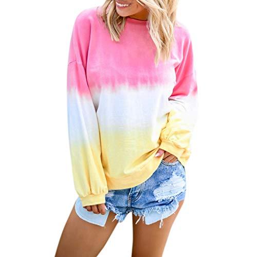 T-Shirt Rundhals Damen Langarm Ausschnitt Lose Bluse Langarmshirts Hemd Pullover Sweatshirt Oberteil Tops Shirts Kontrastfarbe mit Farbverlauf (4XL,5- Rosa)