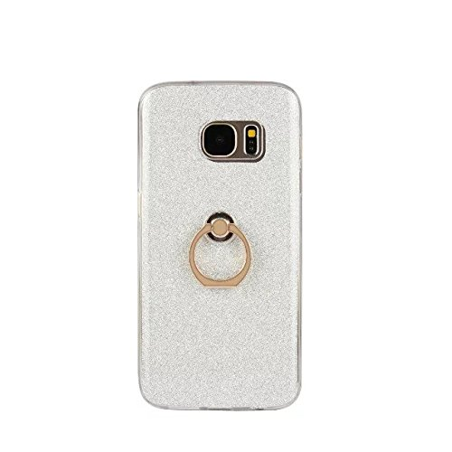 Luxus Bling Sparkle Style Case, Soft TPU [Silikon] Flexible Glitter Rückseitige Abdeckung [Anti Scratch] mit Fingerring Stand für Samsung Galaxy S7 Plus ( Color : Black ) White