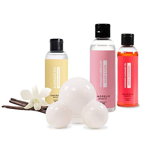 Amorelie Basics - Massageset Keramik Massagestein Massageöl Vanille Erdbeere Gleitgel (3x100ml), 4-teilig