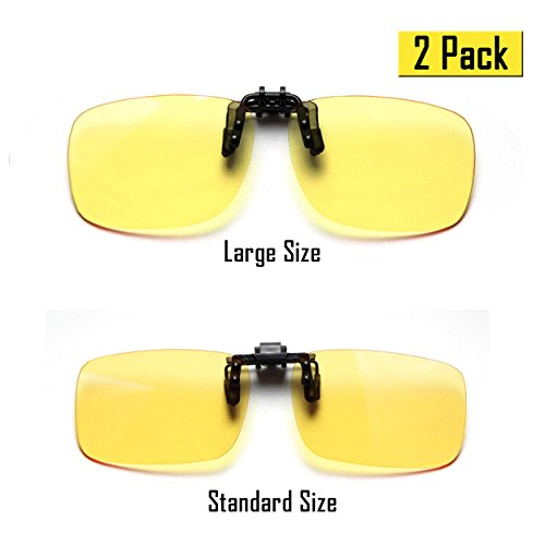 Cyxus (2er Pack) Blue Light Filter Clip-on Computer Lesebrillen, UV-Blocking Anti Eye Strain Unisex Eyewear 1 Standard Größe und 1 Große Größe Yellow Lens