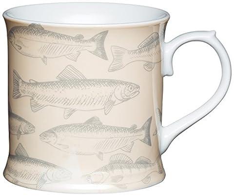 Kitchen Craft 400 ml Porcelain Fish Tankard Shaped Mug, Multi-Colour