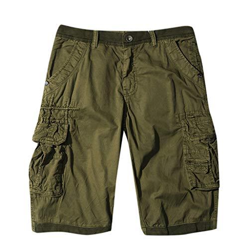 TEBAISE Pants Pure Color Shorts Herren Outdoor Taschen Strand Arbeit Hosen Cargo Pant 3/4 Herren Cargo Short Hose 2019 Sommer Herren Cargo Short Vintage Kurz Hose Cargo Chino Bermuda Shorts
