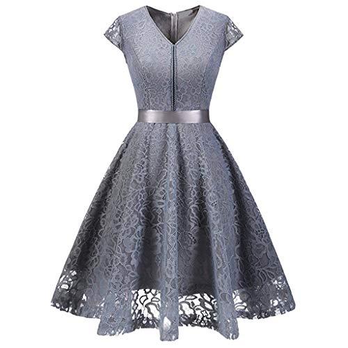 kleid Herzform Elegant Abendkleider Cocktail Party Floral Kleid(Grau,Large) ()