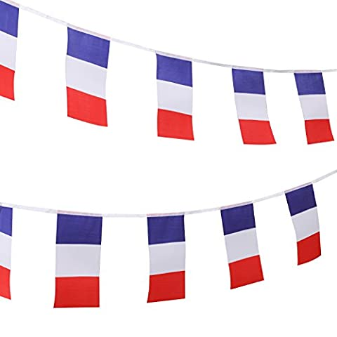 TRIXES 9 Metre French Flag Tricolour Red White Blue Bastille Day Bunting for National Celebrations