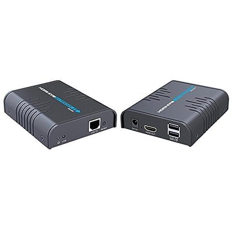 E-SDS 1080P Extender HDMI KVM sur un seul câble Ethernet Cat5 / 5E / 6/7, HDMI sur TCP / IP jusqu'à 365Ft (CAT6) Support Clavier et souris USB