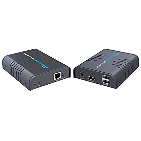 e-sds 1080P HDMI KVM Verlängerung über Single CAT5/5e/6/7Ethernet Kabel, HDMI über TCP/IP bis 365FT (CAT6) unterstützt USB Tastatur & Maus