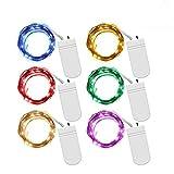 6pcs LED Ketten Farbige mit Batterien Wasserdicht 2 m 20 LED Beleuchtung von Garten Stromversorgung Licht von der Lichterkette für Innen und Aussen Decoration
