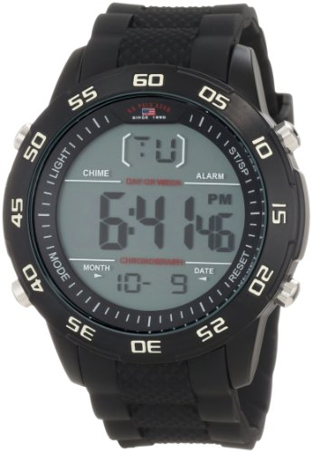 U.S. Polo Assn. Sport Men's US9214 Black Silicone Digital Watch