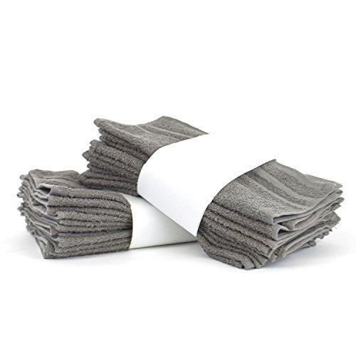 Grenze Waschlappen (Eco Baumwolle Waschlappen-CAM Bordüre-Set von 12, baumwolle, grau, Washcloths)